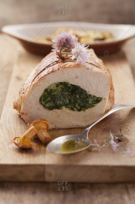 Turkey breast stuffed with spinach and cream cheese