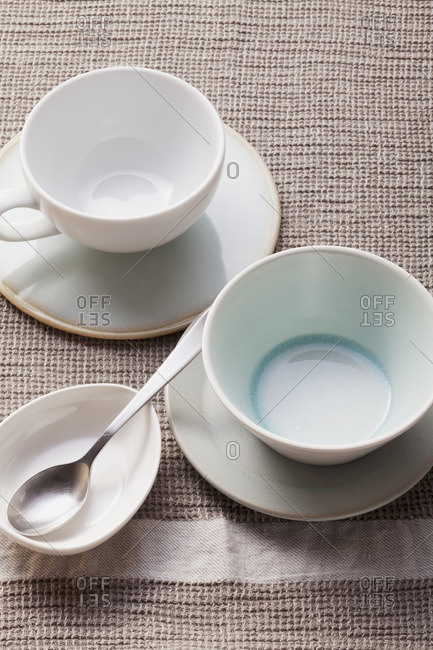 Empty soup cups and bowls