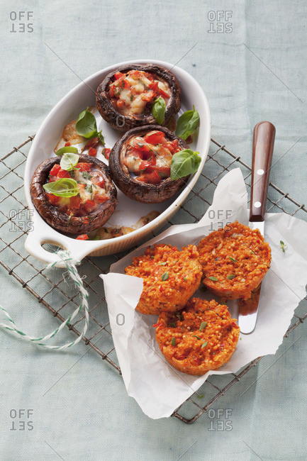 Mushrooms stuffed with tomatoes and mozzarella and millet muffins
