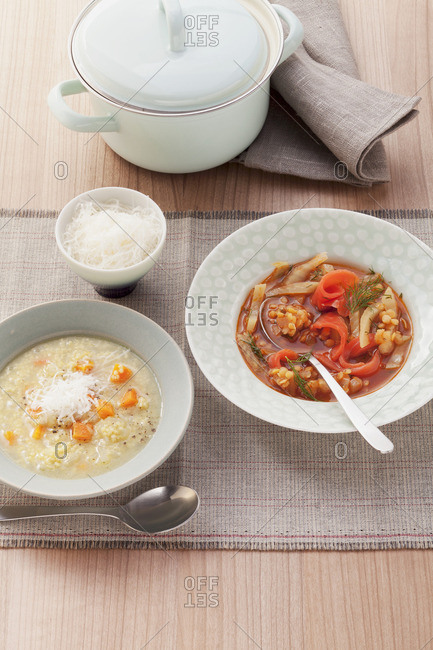 Millet soup with fennel-lentil soup with smoked salmon