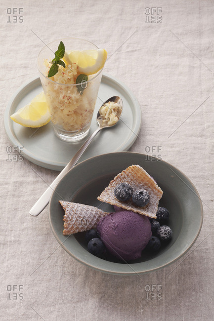 Blueberry ice cream with tofu and apple sorbet