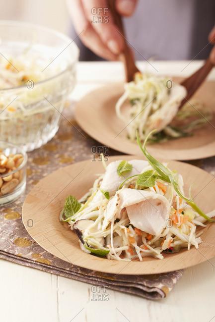 Chicken salad and white cabbage salad