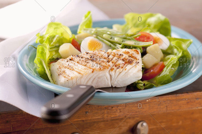 Grilled halibut with salad noise
