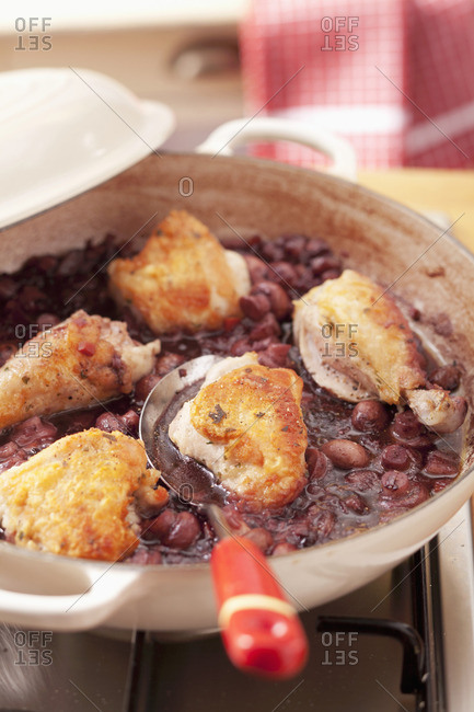 Chicken breast with mushrooms in red wine sauce