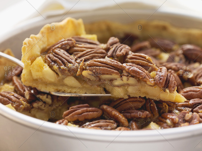 Pecan and apple pie in pie dish, one piece on cake slice