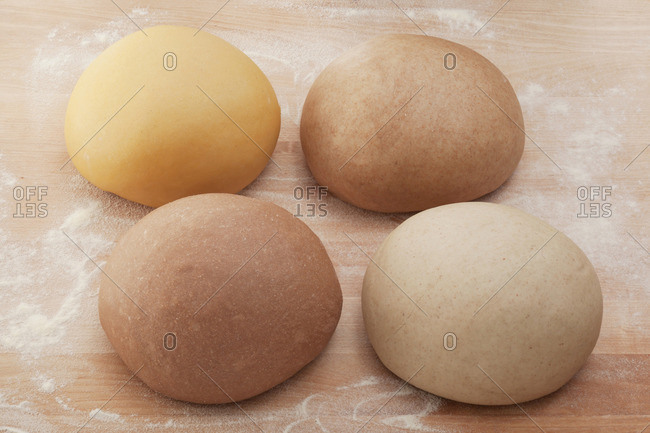 Various types of pasta dough (made from corn flour, whole meal flour, chestnut flour and buckwheat flour)