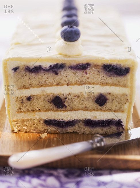 Blueberry cake with marzipan buttercream