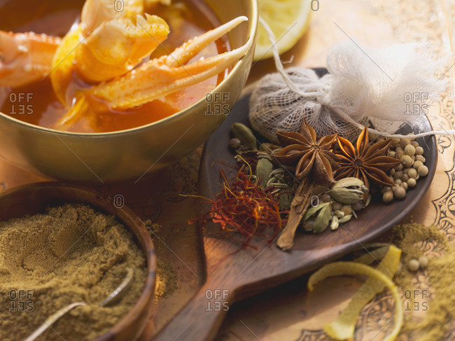Various spices and langoustines