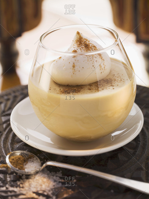 Iced coffee with a cream topping