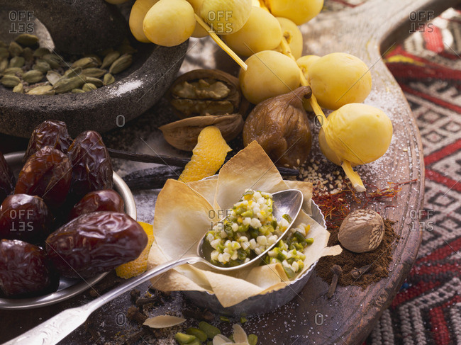 Ingredients for baklava, dates, figs and nuts