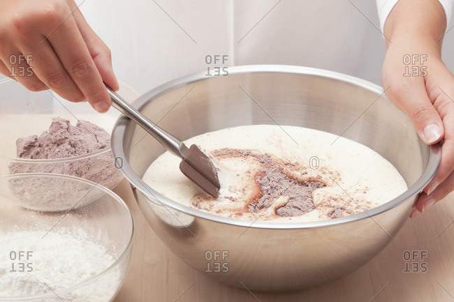 Chocolate sponge being prepared - Offset