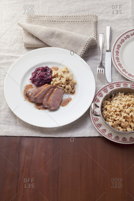 Duck breast with red cabbage and spaetzle (soft egg noodles from Swabia)