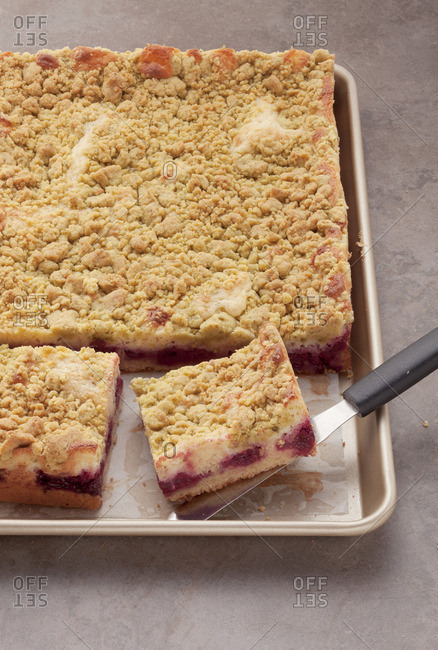 Crumble cake in the baking tray