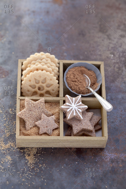 Biscuits in a wooden box