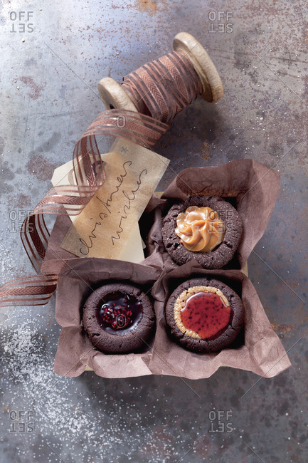 Chocolate biscuits with various fillings