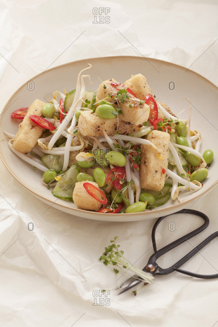 Soya bean salad with bean sprouts and tofu