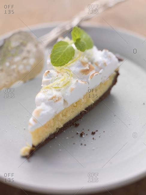 A slice of lime meringue pie