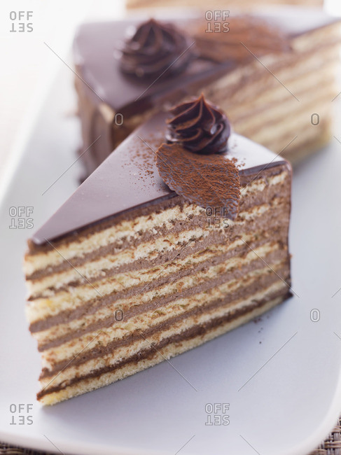 Slices of Prinzregententorte (Bavarian chocolate sponge cake)