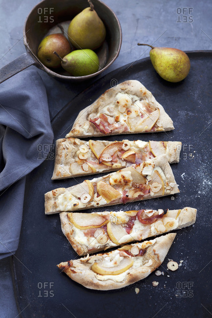 Tart flambe topped with pears