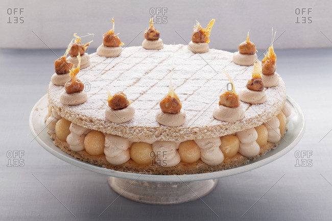 Nougat and quince layer cake