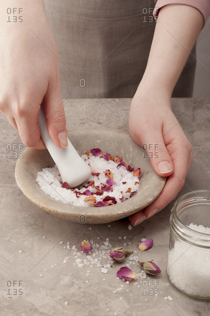 Rose salt being prepared