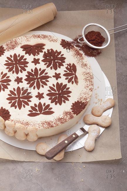 Layer cake with a pattern in cocoa (tiramisu cake)