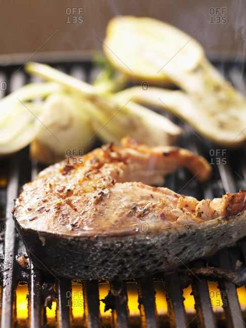 Barbecued salmon steak and fennel, on the barbecue