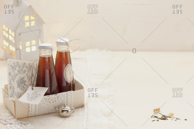 Tea liqueur with orange and vanilla as a gift