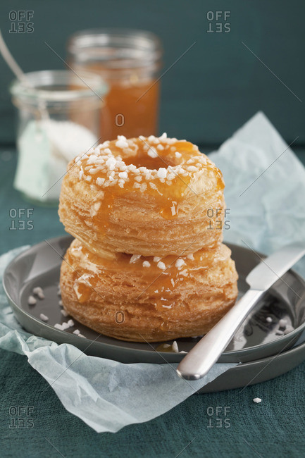 Apricot puff pastry doughnuts with sugar crystals