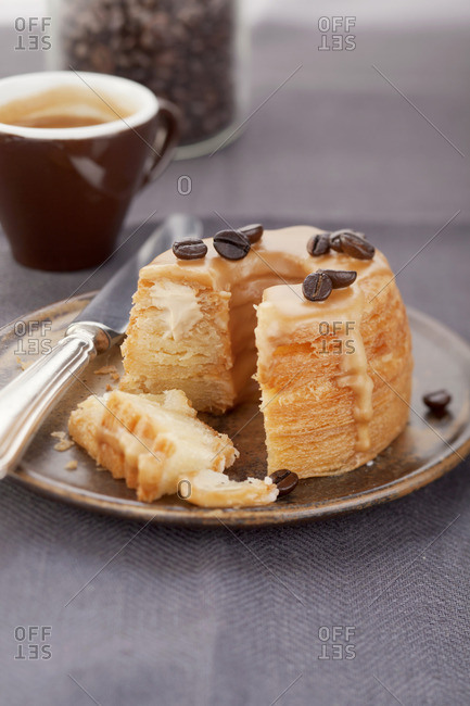 Puff pastry doughnut with cafe au laity filling