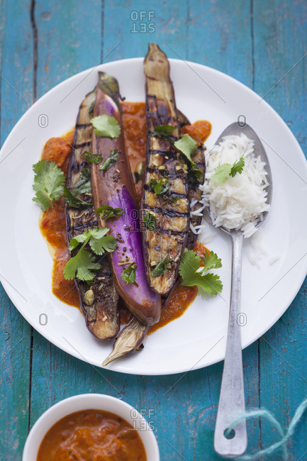 Grilled aubergines with spices butter and tikka masala