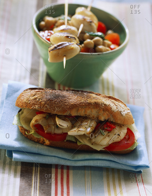 Squid sandwich; calamaretti with chick-pea salad