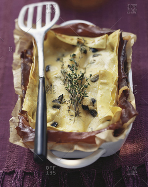 Lasagna with ricotta and Parma ham