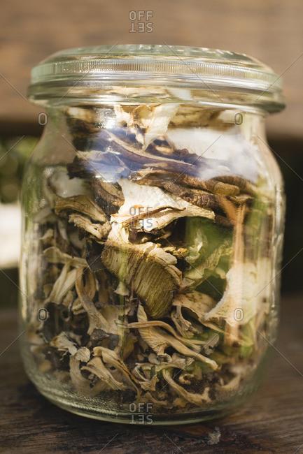 Dried Mushrooms in a storage jar