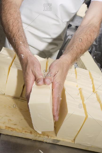Sorting blocks of butter