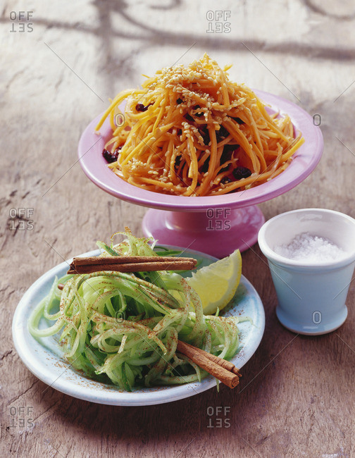 Cucumber salad with cinnamon, carrot & orange salad (Morocco)