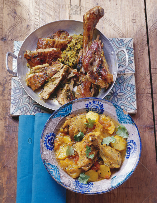 Chicken with potatoes and kid with herb stuffing (Morocco)
