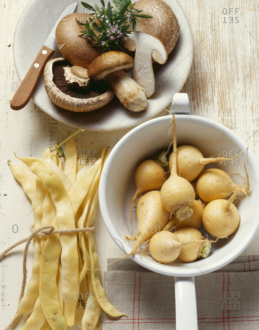 Vegetable still life: mushrooms, beans and Teltow turnips