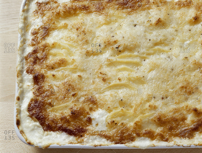 Potato gratin in a baking dish