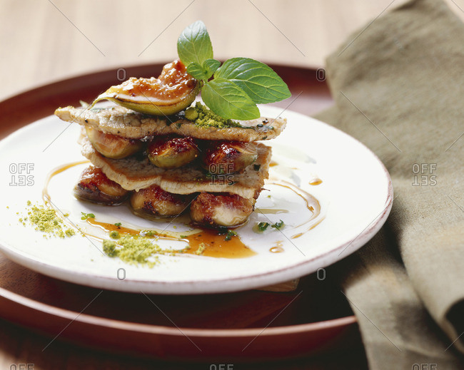 Pork escalope with figs