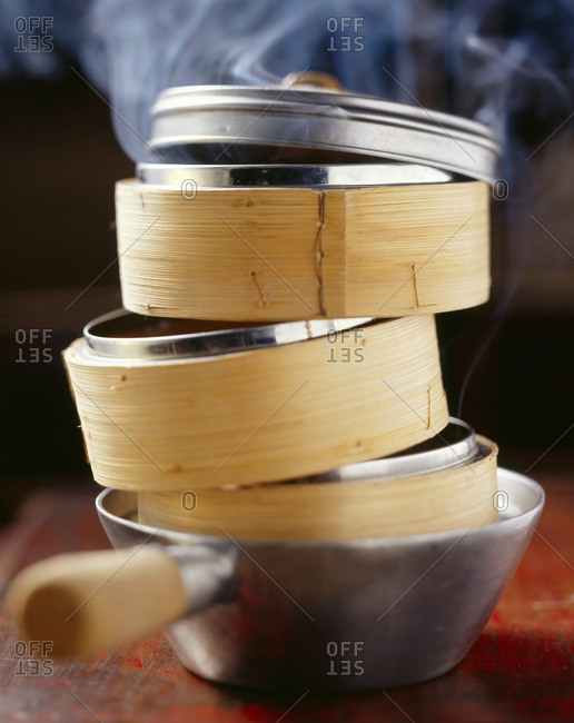 Steaming baskets in a saucepan