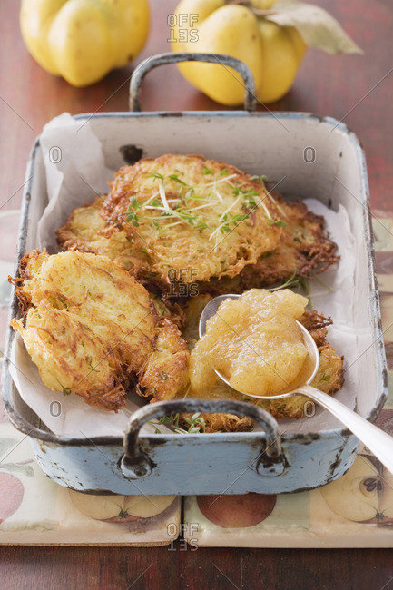 Turnip and potato cakes with quince sauce