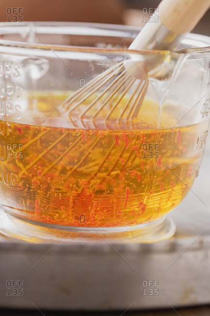 Saffron being mixed with water