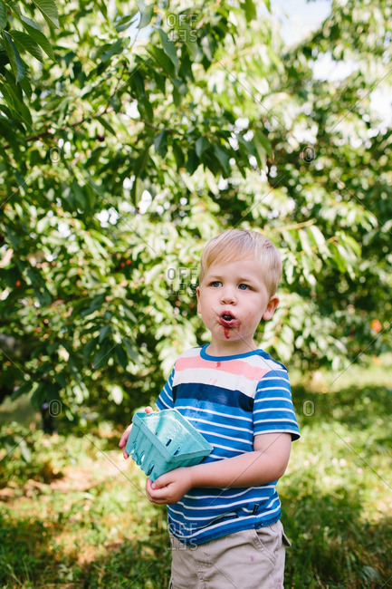 Little boy holding a container with strawberries stains around his mouth