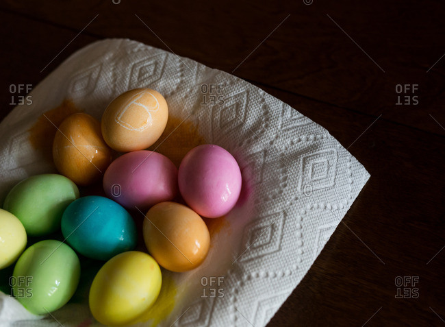 Dyed Easter eggs in a bowl