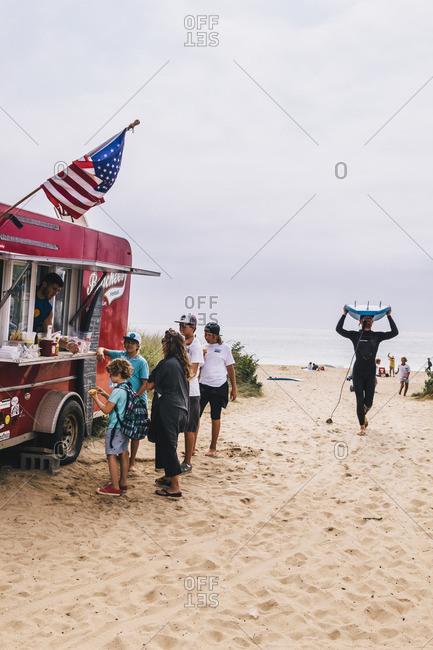 East Hampton, New York - September 4, 2015: Red food truck at Ditch Plains Beach