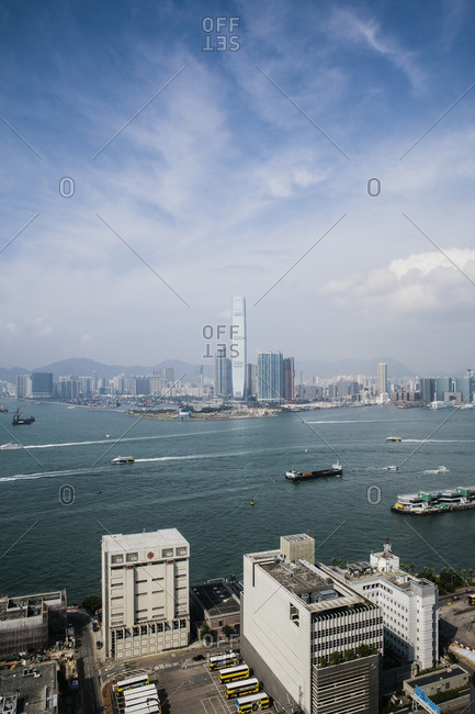 View of Hong Kong harbor and International Commerce Center tower in Kowloon