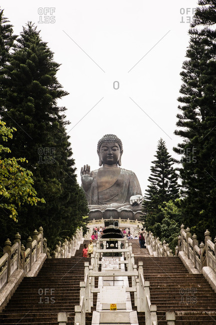 Hong Kong- September 20, 2015: Stairway leading to Giant bronze Tian Tan Buddha statue