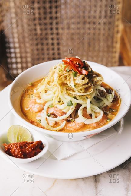Malaysian Laksa curry noodle soup