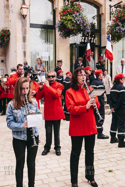 Loire Canal, France - July 14, 2014: Marching band for La F�te Nationale of France on Bastille Day